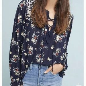 One September | Embroidered Tie Front Floral Top
